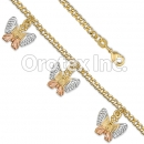 BR017 Gold Layered Tri Color Bracelet