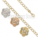 BR022 Gold Layered Tri Color Bracelet