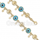 BR032  Gold Layered Blue Eye  Bracelet