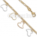 BR045 Gold Layered Tri Color Anklet