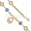 BR056 Gold Layered Blue Eye  Bracelet