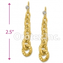 EL338 Orotex Gold Layered Long Earrings