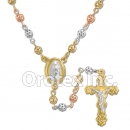 CH122 Gold Layered Tri-Color Rosary