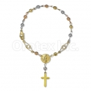 Orotex Gold Layered Filligree Tri-Color Hand Rosary