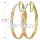 EB044 Gold Layered Tri-Color Hoop Earrings