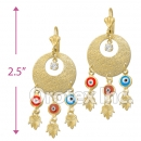 ECH017 Gold Layered CZ Tri-Color Chandelier Earrings