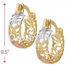 EH038 Gold Layered Tri-color Hoop Earrings