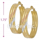 EH052 Gold Layered Tri-color Hoop Earrings