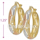 EH056 Gold Layered Tri-color Hoop Earrings