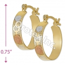 EH081 Gold Layered Tri-Color Hoop Earrings