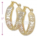 EH086 Gold Layered Tri-Color Hoop Earrings