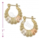 EH089 Gold Layered Tri-color Hoop Earrings