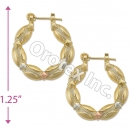 EH093 Gold Layered Tri-color Hoop Earrings