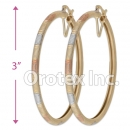 EH134 Gold Layered Tri-Color Hoop Earrings