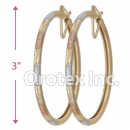 EH137 Gold Layered Tri-Color Hoop Earrings