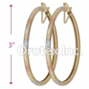 EH138 Gold Layered Tri-Color Hoop Earrings
