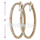 EH141 Gold Layered Tri-Color Hoop Earrings