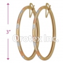 EH143 Gold Layered Tri-Color Hoop Earrings