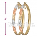 EH148 Gold Layered Tri-Color Hoop Earrings