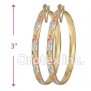 EH149 Gold Layered Tri-Color Hoop Earrings