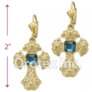 EL 181 Gold Layered CZ Long Earrings