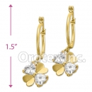 EL 289 Gold Layered CZ Long Earrings
