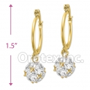 EL 290 Gold Layered CZ Long Earrings