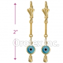 EL016 Gold Layered Blue Eye Long Earrings