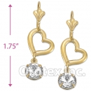 EL019 Gold Layered CZ Long Earrings