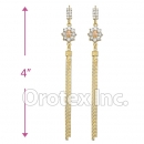 EL019C Gold Layered CZ Long Earrings