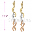 EL022 Gold Layered Tri-color Long Earrings