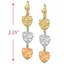 EL023 Gold Layered Tri-color Long Earrings