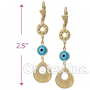 EL035 Gold Layered Blue Eye Long Earrings