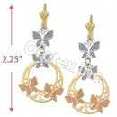 EL042 Gold Layered  Tri-Color Long Earrings