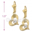 EL075 Gold Layered CZ Long Earrings