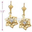 EL078 Gold Layered CZ Long Earrings