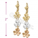 EL098 Gold Layered  Tri-Color Long Earrings
