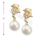 EL103 Gold Layered Pearl Long Earrings