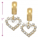 EL106 Gold Layered CZ Long Earrings