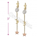 EL107 Gold Layered  Tri-Color Long Earrings