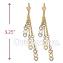 EL112 Gold Layered  Two Tone Long Earrings