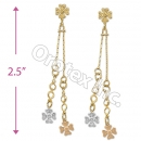 EL128 Gold Layered  Tri-Color Long Earrings