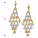EL129 Gold Layered  Tri-Color Long Earrings