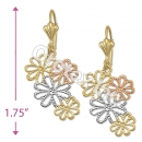 EL139 Gold Layered  Tri-Color Long Earrings