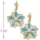 EL141 Gold Layered CZ Long Earrings