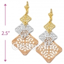 EL146 Gold Layered  Tri-Color Long Earrings