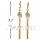 EL151 Gold Layered CZ Long Earrings