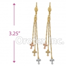 EL154 Gold Layered  Tri-Color Long Earrings