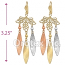 EL161 Gold Layered  Tri-Color CZ Long Earrings