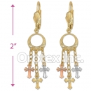 EL171 Gold Layered  Tri-Color Long Earrings